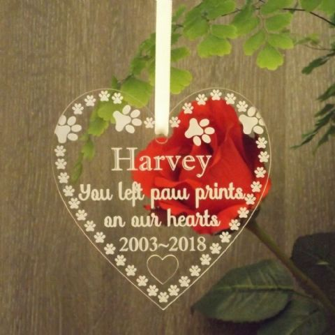 Pet Remembrance Paw Prints on Our Hearts Memorial Personalised Acrylic Heart